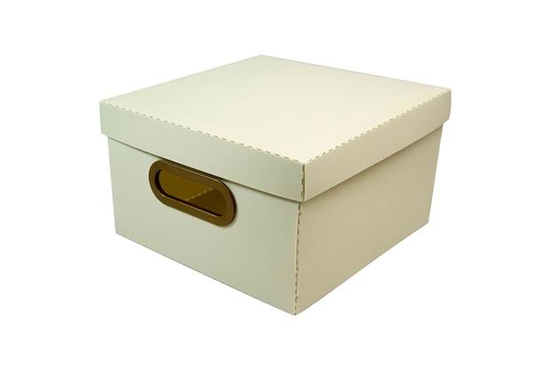 Caixa Organizadora com Tampa Linho Cinza 15x25cm - Dello