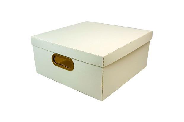 Caixa Organizadora com Tampa Linho Cinza 16x35cm - Dello