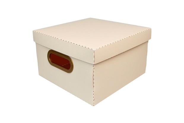 Caixa Organizadora com Tampa Linho Rosa 15x25cm - Dello