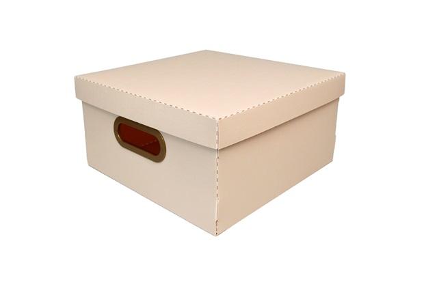 Caixa Organizadora com Tampa Linho Rosa 15x29cm - Dello