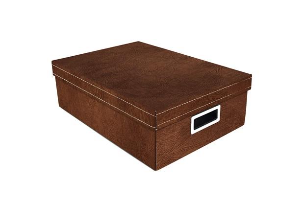 Caixa Organizadora Couro 39x27cm Marrom - Boxgraphia