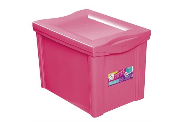 Caixa Organizadora em Polipropileno 30 Litros Rosa - Ordene
