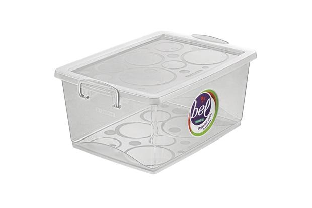Caixa Organizadora em Polipropileno com Trava Bel Cristal 15 Litros - Ordene