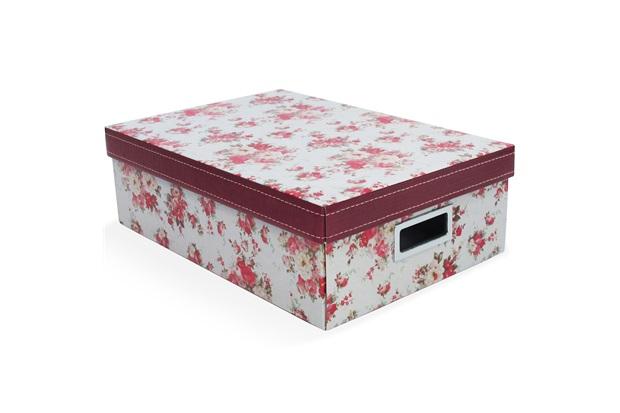 Caixa Organizadora Floral 39x27cm Vermelha - Boxgraphia