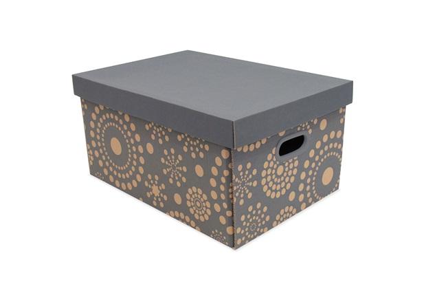 Caixa Organizadora Pratika Decor 46x32cm Cinza - Boxgraphia
