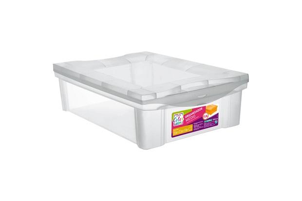 Caixa Organizadora Radical Color 30,5x42,5cm Transparente - Ordene