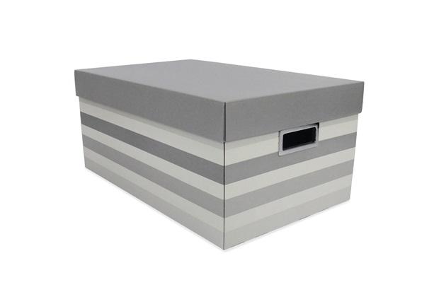 Caixa Organizadora Stripes 46x29cm Cinza - Boxgraphia