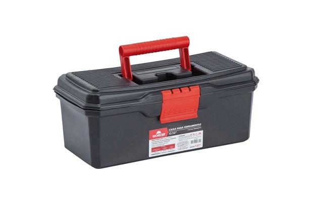 Caixa para Ferramentas 12.1/2'' em Polipropileno 13x15x33cm Preto E Vermelho - Worker