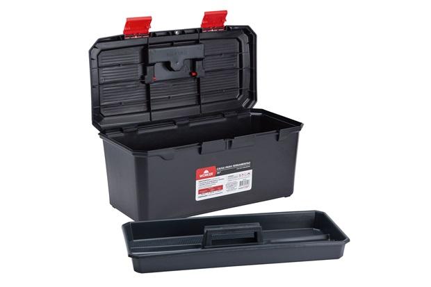 Caixa para Ferramentas 19'' em Polipropileno 22x24x48cm Preto E Vermelho - Worker