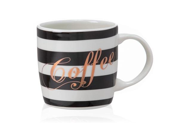 Caneca em Cerâmica Stripes Coffee Preta E Branca - Casa Etna
