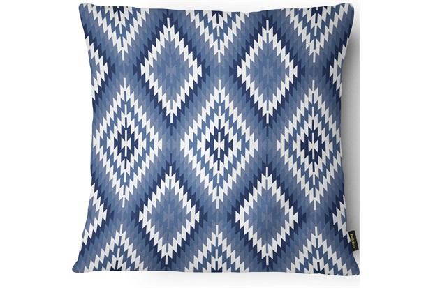 Capa para Almofada em Cetim E Linho Vivace Losango 43x43cm Azul - Casanova