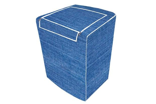 Capa para Máquina de Lavar com Ziper E Abertura Superior 64x62cm Jeans - Vida Pratika