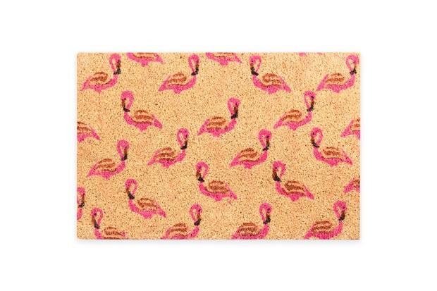 Capacho em Fibra de Coco Flamingos 40x60cm Marrom E Rosa - Casanova