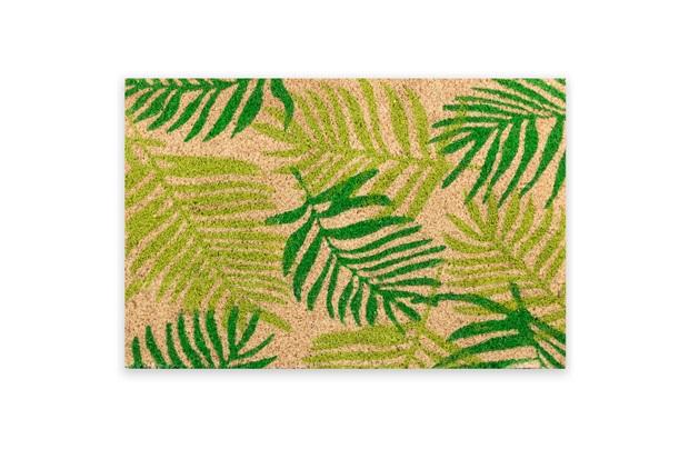 Capacho em Fibra de Coco Folhas 40x60cm Verde - Casanova