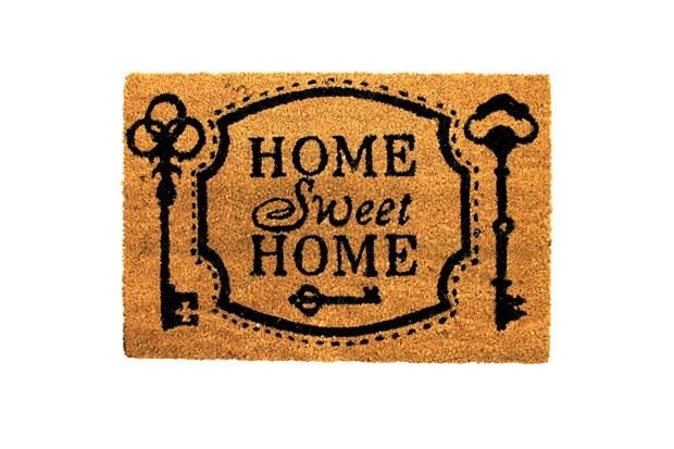 Capacho em Fibra de Coco Home Sweet Home 40x60cm Natural E Preto - Casanova