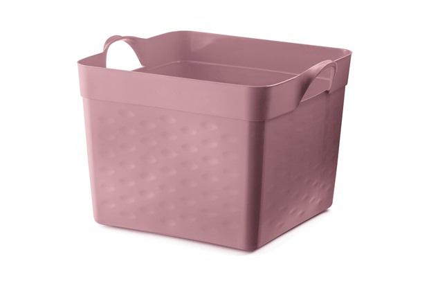Cesto Organizador Quadrado em Plástico 22 Litros Rosa - Sanremo