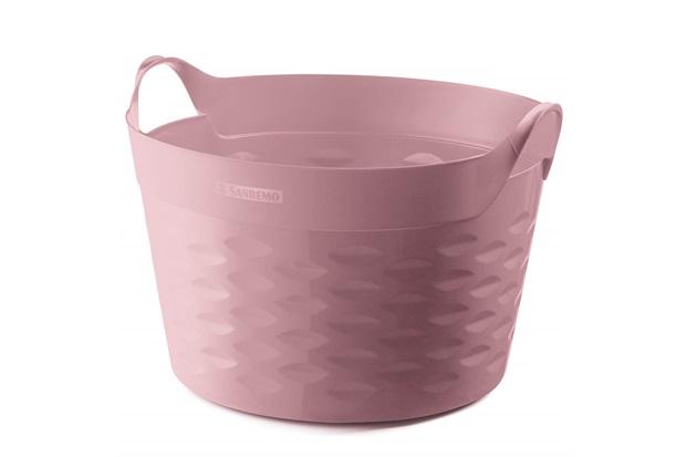 Cesto Organizador Redondo em Plástico 30 Litros Rosa - Sanremo
