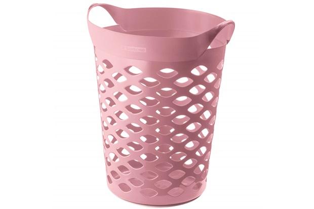 Cesto Organizador Redondo em Plástico 44 Litros Rosa - Sanremo