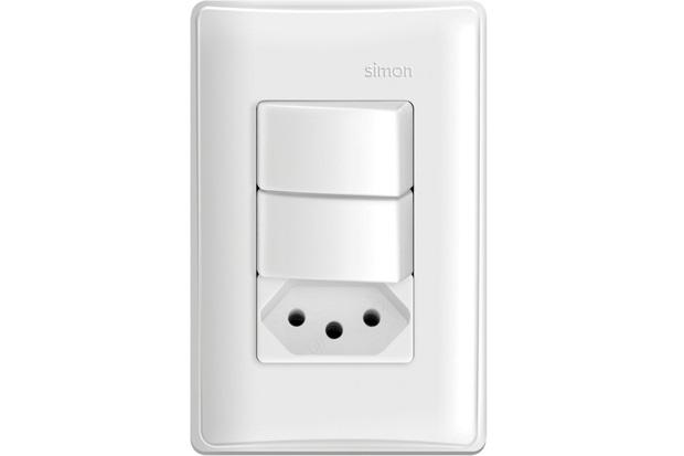 Conjunto 2 Interruptores Paralelos + 1 Tomada 10a 220v Simon 30 Branco - Simon