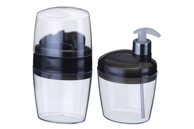 Conjunto com Saboneteira Liquido E Porta Escovas Belle Preto - Arthi