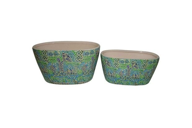 Conjunto de Cachepot em Cerâmica Oval Estampas com 2 Peças Azul E Verde - BTC