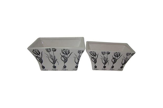 Conjunto de Cachepot em Cerâmica Quadrado Floral com 2 Peças Branco E Preto - BTC