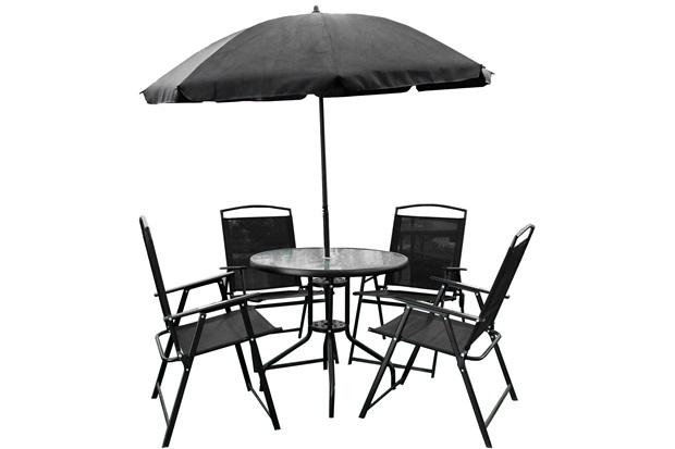 Conjunto de Cadeiras E Mesa com Guarda-Sol com 6 Peças Preto - Importado