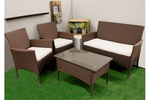 Conjunto de Cadeiras E Mesa com Pés em Fibra Sintética com 4 Peças Marrom - Casanova