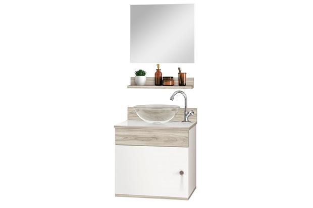 Conjunto de Gabinete E Espelheira Avanti 44cm com Cuba E Prateleira Brunelo E Branco - Astral Design