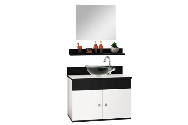 Conjunto de Gabinete E Espelheira Avanti 60cm com Cuba E Prateleira Onix E Branco - Astral Design