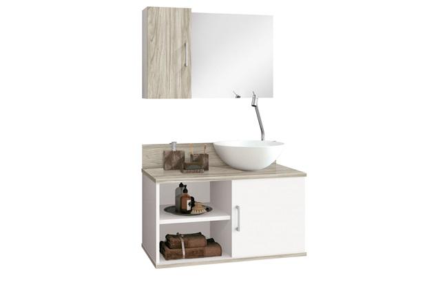 Conjunto de Gabinete E Espelheira Berlim 60cm com Cuba Brunelo E Branco - Astral Design