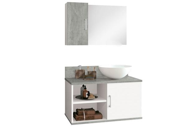 Conjunto de Gabinete E Espelheira Berlim 60cm com Cuba Cimentício E Branco - Astral Design