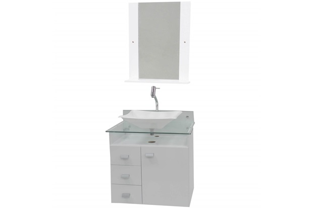 Conjunto de Gabinete E Espelheira em Mdf Classic Branco - Bonatto