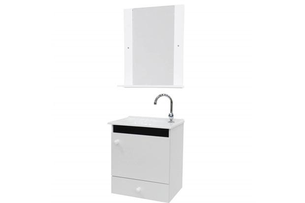 Conjunto de Gabinete E Espelheira em Mdf Sonic 50cm Branco E Preto - Bonatto