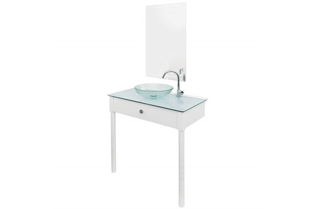 Conjunto de Gabinete E Espelheira em Mdf Wood Set 2 Pés 80cm Branco - Cris Metal