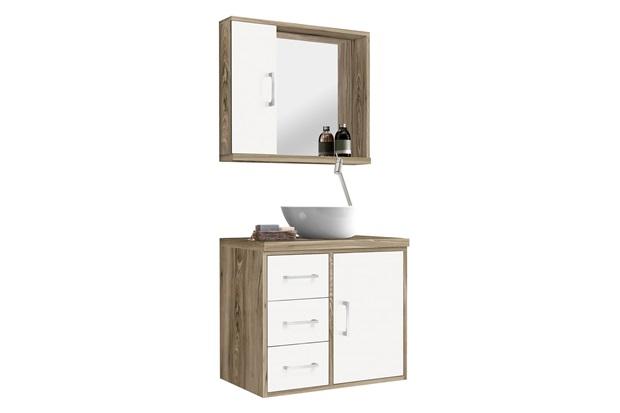 Conjunto de Gabinete E Espelheira Sevilha 60 Cm Barrique E Branco - Astral Design