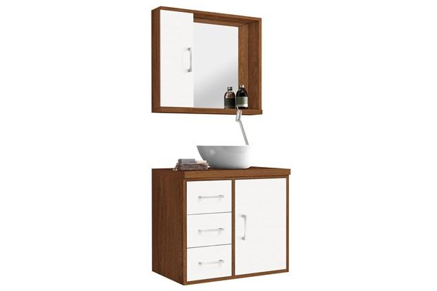 Conjunto de Gabinete E Espelheira Sevilha 60 Cm Freijó E Branco - Astral Design