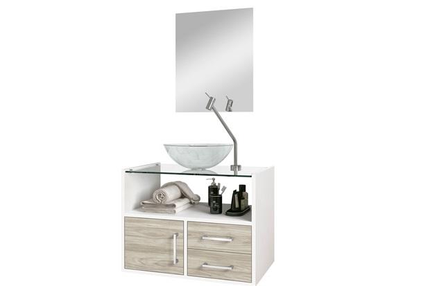 Conjunto de Gabinete E Espelheira Show 60cm com Cuba E Tampo de Vidro Brunelo E Branco - Astral Design