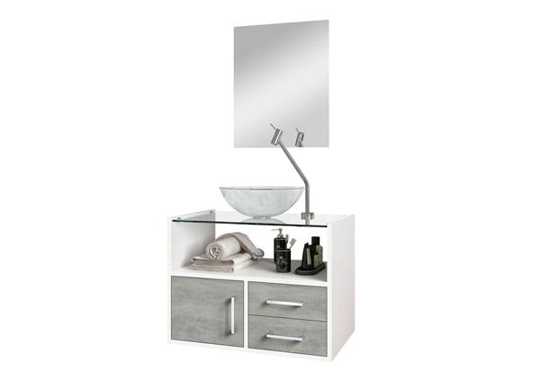 Conjunto de Gabinete E Espelheira Show 60cm com Cuba E Tampo de Vidro Cimentício E Branco - Astral Design