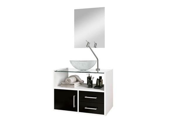 Conjunto de Gabinete E Espelheira Show 60cm com Cuba E Tampo de Vidro Preto E Branco - Astral Design
