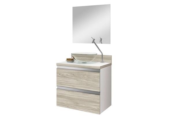 Conjunto de Gabinete E Espelheira Vigor 60cm Brunelo E Branco - Astral Design