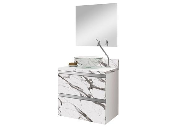 Conjunto de Gabinete E Espelheira Vigor 60cm Carrara E Branco - Astral Design