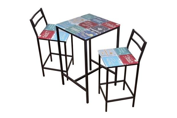 Conjunto de Mesa com 2 Cadeiras Altas Colorido - Importado