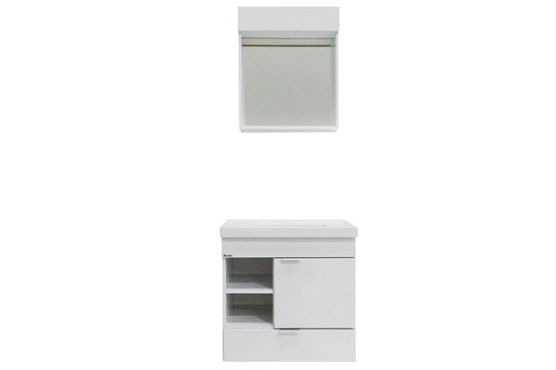 Conjunto em Mdp para Banheiro com Toucador E Espelho Angra 50x31cm Branco - Bonatto