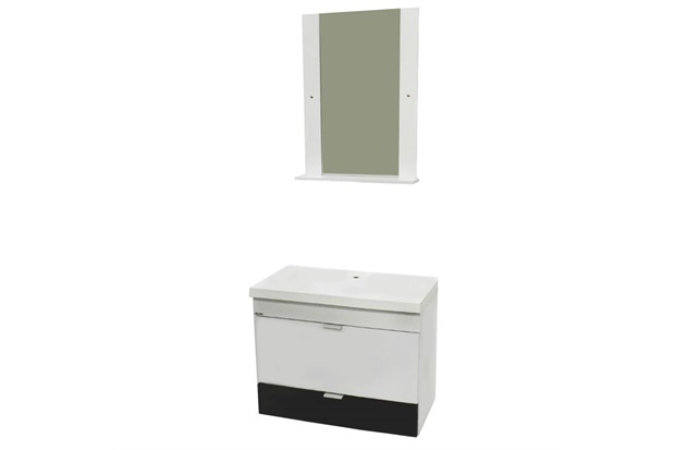 Conjunto em Mdp para Banheiro com Toucador E Espelho Angra 50x31cm Branco E Preto - Bonatto