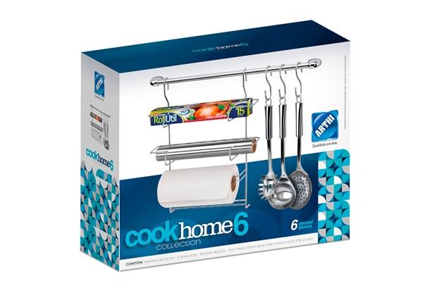 Cook Home para Cozinha com 3 Ganchos 49cm Cromado - Arthi