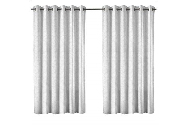 Cortina em Poliéster com Ilhos em Metal Bloom Branca 400x230cm - Evolux