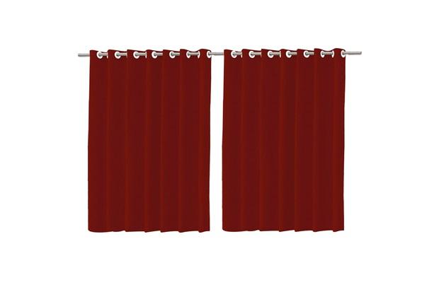 Cortina em Voil com Forro Blackout Vermelha 200x180cm - Importado