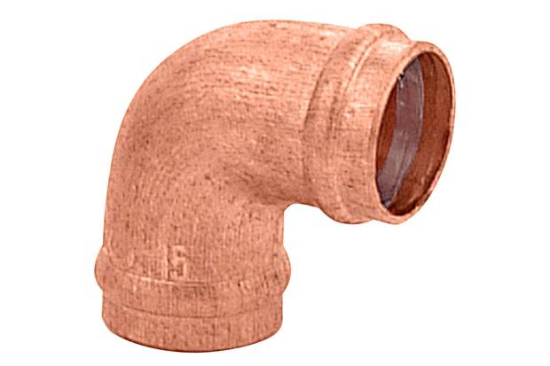 Cotovelo 90° em Cobre com Solda 28x28mm Cobreado - Ramo Conexões