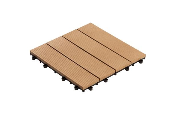Deck em Plástico Sustentável Frisado 30x30cm Cumaru - Massol